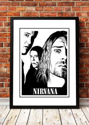 Nirvana 'Black And White' Band Poster
