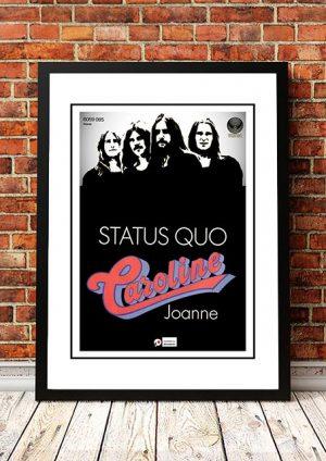 Status Quo 'Caroline' In Store Poster 1973