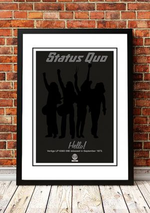 Status Quo 'Hello' In Store Poster 1973