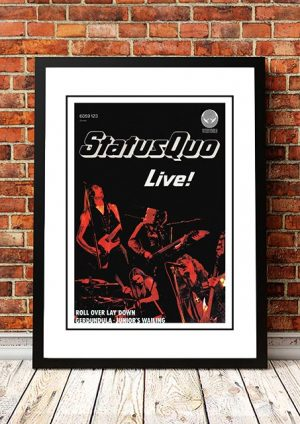 Status Quo 'Live' In Store Poster 1976