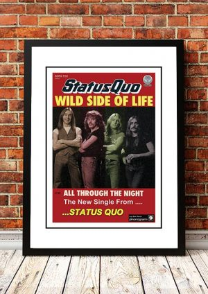 Status Quo 'Wild Side Of Life' In Store Poster 1977