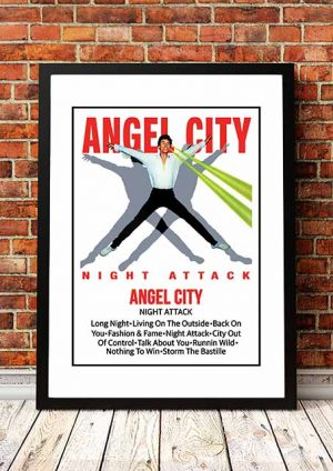 The Angels (Angel City) 'Night Attack' Cassette Cover Poster 1982