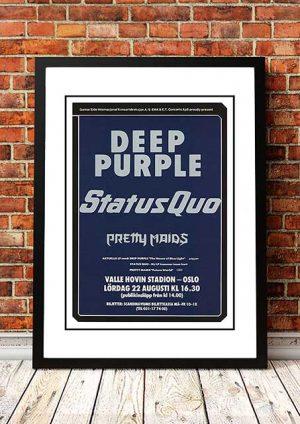 Deep Purple / Status Quo 'Valle Hovin Stadium' Oslo, Norway 1987