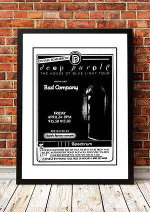 Deep Purple / Bad Company 'House Of Blue Light' Tour Poster 1987