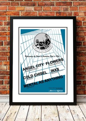 Angel City (The Angels) / Cold Chisel / INXS 'Dirty Pool Agency' Promotional Poster USA 1981